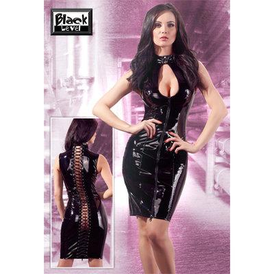 Zwarte lak jurk met ritsen