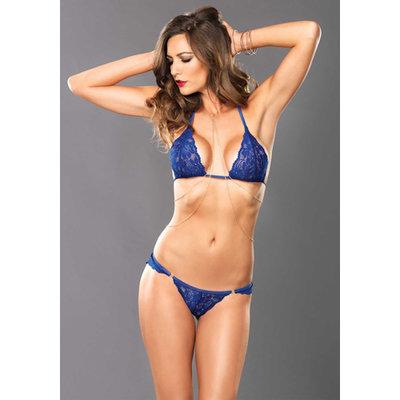 Blauwe kanten BH, String & Body Ketting